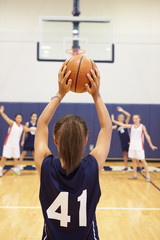 Female High School Basketball Player Shooting Basket