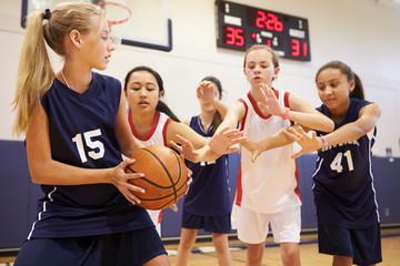 Female High School Basketball Team Playing Game