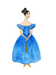 The girl in the dress of the 19th century. Watercolor.