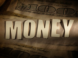The word Money on paper background
