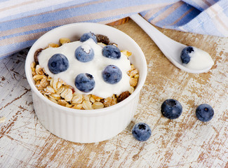 Muesli and yogurt with fresh berries