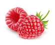 Raspberry over white background