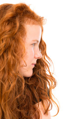 red haired girl in profile
