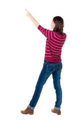 Back view of  pointing woman.