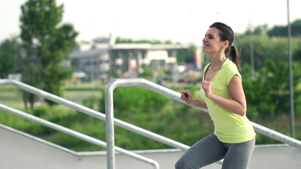 Successful woman happy after run, super slow motion