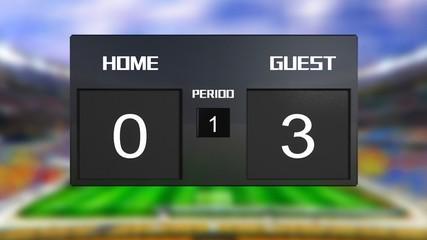 soccer match scoreboard guest win 0 & 3