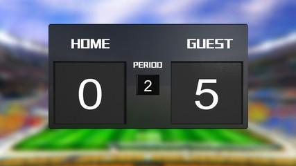 soccer match scoreboard guest win 0 & 5