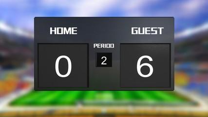 soccer match scoreboard guest win 0 & 6