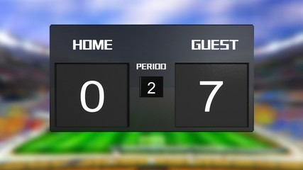 soccer match scoreboard guest win 0 & 7