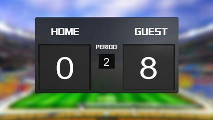soccer match scoreboard guest win 0 & 8
