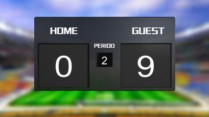 soccer match scoreboard guest win 0 & 9