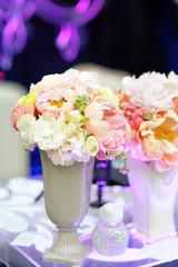 Pastel flowers bouquet in vase