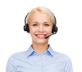 friendly female helpline operator with headphones