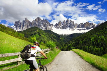 Alpine activities. cycling in Dolomites