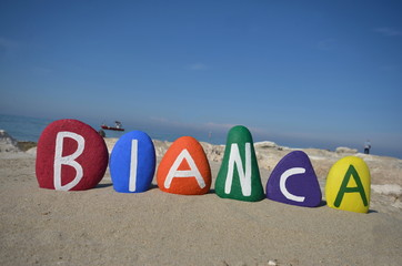 Bianca, female name on stones
