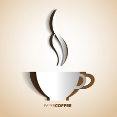 Coffee cup papercut vector card symbol
