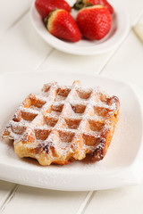 belgian waffles with fresh strawberries