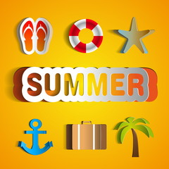 Summer background, Vector illustration, realistic cut, takes the