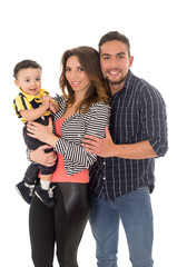 family hispanic on a white background