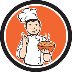 Chef Cook Carrying Bowl Circle Cartoon
