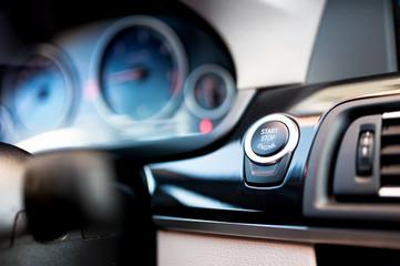car start and stop button. Modern car interior