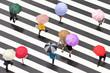 Leinwanddruck Bild - Bunte Regenschirme