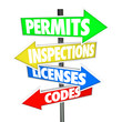 Permits Inspections Licenses Codes Words Arrow Road Signs