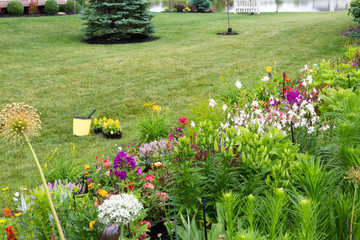 Planting new flowers in a colorful private garden