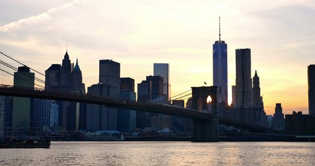 4K view of Manhattan skyline at sunset - New York - USA