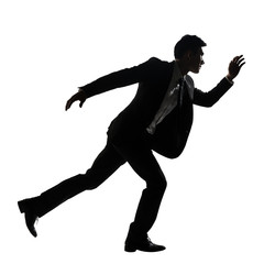 Silhouette of Asian business man running