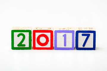 Wooden block for year 2017
