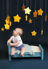 Baby Bed Time with Stars and Mobile