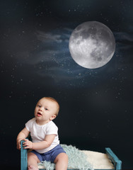 Baby Bed Time, Moon and Starry Night