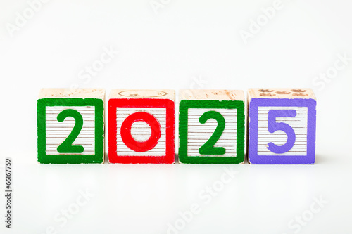 Poster Wooden block for year 2025