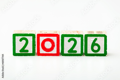 Poster Wooden block for year 2026