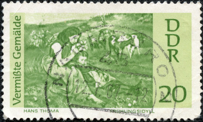 stamp printed by Germany, shows Spring Idyl, by Hans Thoma