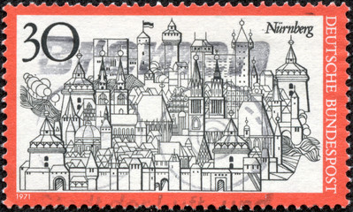 stamp shows View of Nuremberg, Town in Bavaria