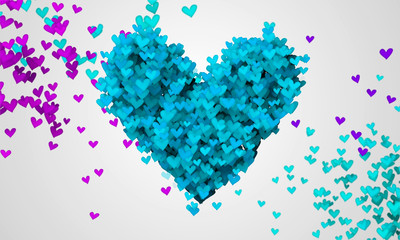 Blue Love Particles Heart Shape 3D