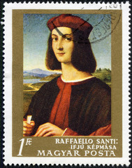 stamp shows Picture Portrait of a Young Man by Raffaello Santi