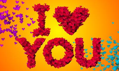 I love you Particles Heart Shape 3D orange background