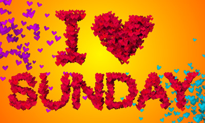 I love Sunday Particles Heart Shape 3D orange background