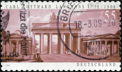 stamp printed in the Germany shows Brandenburg Gate