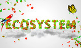 Ecosystem leaves particles 3D poster