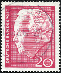 stamp printed in Germany shows Heinrich Lubke Karl