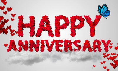 Happy Anniversary Red Heart Shape 3D