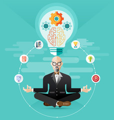 old Business meditation create idea vector