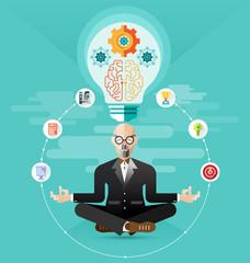 old Business meditation create idea vector