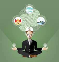 Old Businessman Yoga and zen meditating vector