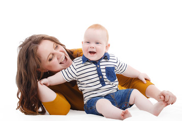 Portrait of happy fun family. Mother and baby
