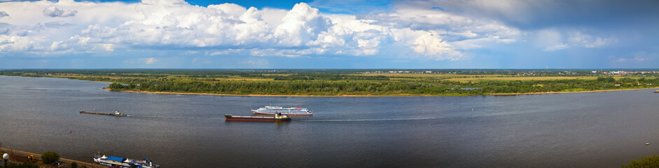 Panoramai view from the steep banks of  Volga